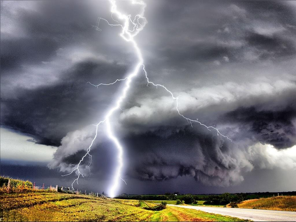 Huge Lightning Bolt Emerging Out Of From Tornado Wallpaper Disasters